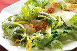 簡単アレンジ!鯛の刺身でつくる前菜!春菊と鯛のアーモンドオイルサラダ