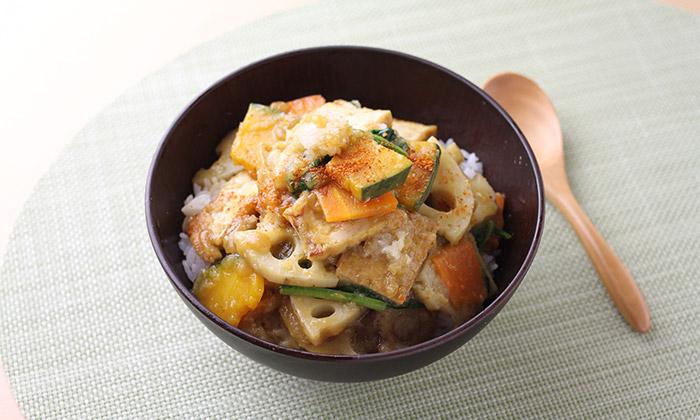 【一皿・時短】秋野菜と厚揚げのおろしあんかけ丼