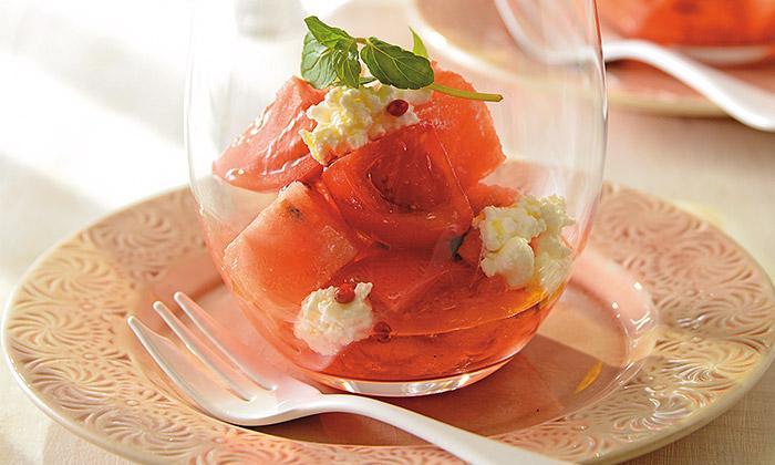 すいかとトマトのグラスサラダのレシピ(作り方)