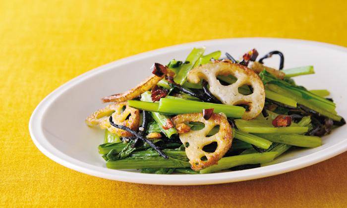 野菜たっぷり「小松菜と長ひじきのぺペロンチーノ風」のレシピ(作り方)