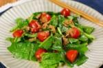 【とにかく簡単】彩り鮮やか!「ミニトマトとほうれん草のツナドレッシングサラダ」