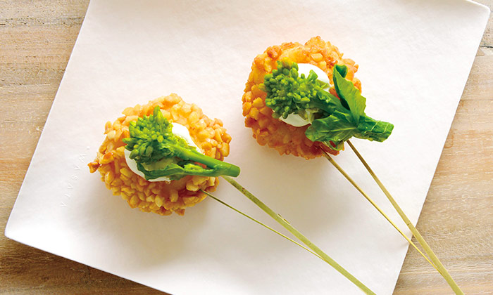 帆立のフライ 菜の花を添えて